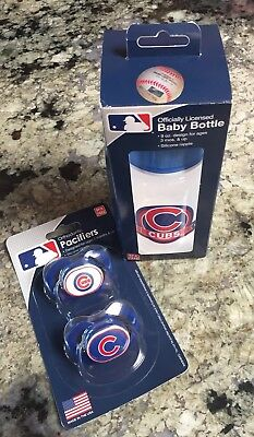 Officially Licensed Chicago Cubs Baby Bottle (1) & Orthodontic Pacifiers (2)