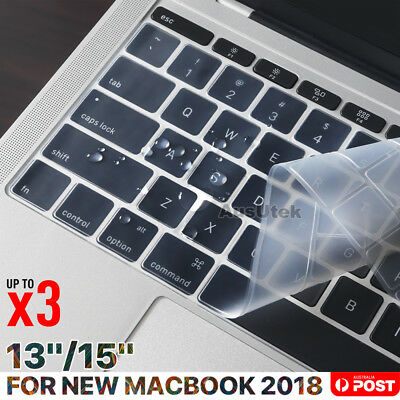 "Clear Keyboard Cover Protector For Apple Macbook Pro 13.3"" 15.4"" Touchbar 2018"