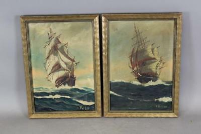 Rare Matched Pair Of Signed T. Bailey Oil On Canvas Paintings Of A Clipper Ship