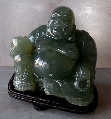 Vintage Carved Dark Green Jade? Laughing BUDDHA with Wood Stand
