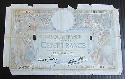 1938 + Pre WW2 France French 100 Franc Banknote - High Catalogue Value