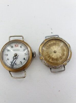 Two Vintage Antique Trench Watches and smiths pocket watch For Parts RARE