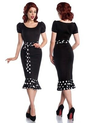 Sexy Pin-Up Vestido de Punto Manga Globo Rockabilly Polka Dots 50er Retro