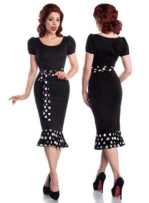 Sexy Pin-Up Jersey Dress Puff Sleeves Rockabilly Polka Dots 50er Retro Dots