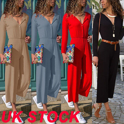 UK New Womens Ladies V Neck Long Sleeve Jumpsuit Casual Party Wide Leg Playsuit