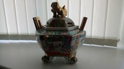 chinese large ceramic container with lid hand painted must see