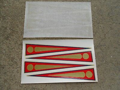 Vintage NOS 4 red exclamation mark Transfers Stickers Original Bike Bicycle