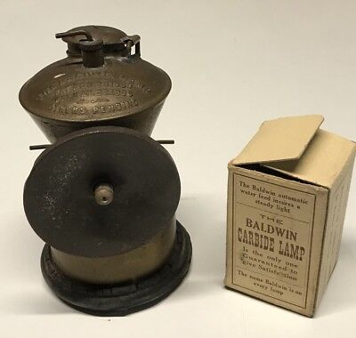 The Baldwin Lamp Carbide Miners Cap Lamp Patent 1900-1906 - With Accessories