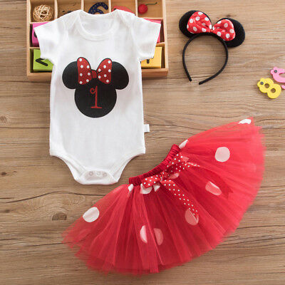 Baby Girl First 1st Birthday Minnie Mouse Outfit Party Dress Tutu Skirt Headband