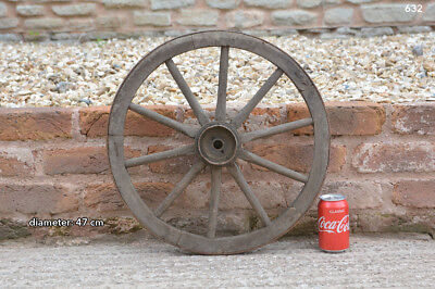 Vintage old wooden cart wagon wheel  / 47 cm - FREE DELIVERY