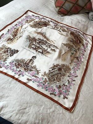 Vintage Japanese Silk Scarf Of Places Of Interest