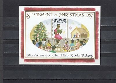 ST VINCENT - SGMS1124 MNH 1987 CHRISTMAS - 175th BIRTH ANNIV CHARLES DICKENS