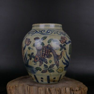 China Dynasty Old Antique Blue And White Porcelain Painting lotus & fish Pot Jar