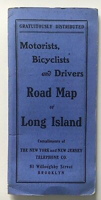 1905 Motorists Bicyclists & Drivers Road Map of Long Island Hammond NYNJ Tel Co.
