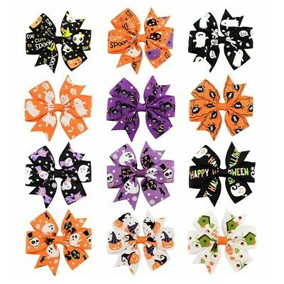 1pc Baby Girls Kids Hair Bow Barrettes Clip Halloween Gift Party Accessories