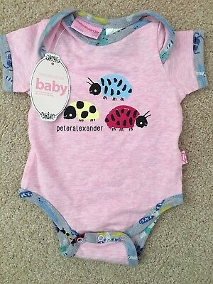 PETER ALEXANDER Pink Baby Girl Lady Bug Romper 0/3 Months Suit Size 0000 BNWT