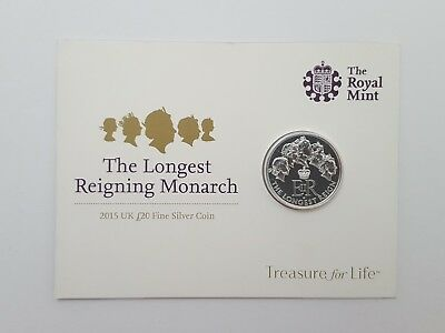 Royal Mint 2015 The Longest Reigning Monarch £20 Pound Silver Commemorative Coin