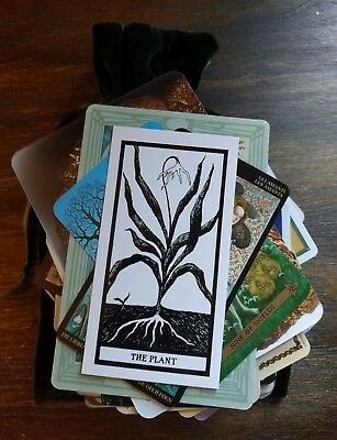 100 Mysterious MAGICAL Lot Tarot/Oracle Cards in a GREEN Velvet Bag OCCULT