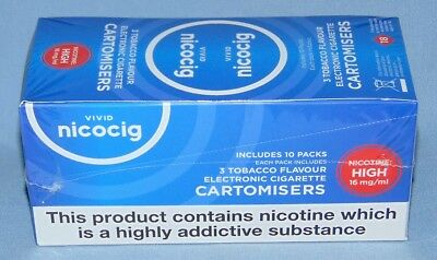 NICOCIG CARTOMISERS TABACCO 16mg FLAVOUR PACK OF 10 UNOPENED (30 REFILLS)