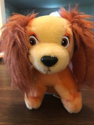 """Vintage Small 6 """" Plush Stuffed Dog - Lady (from Disney's Lady & the Tramp)"""