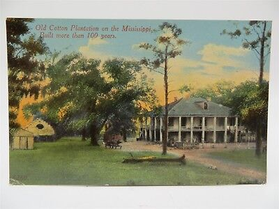 Vintage Early 1900's Postcard - Old Cotton Plantation on the Mississippi