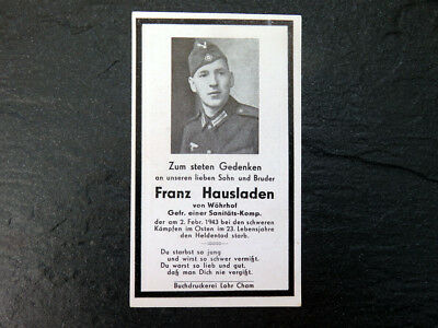 Medic 1943 Russian front WW2 German wehrmacht soldier death card notice tunic