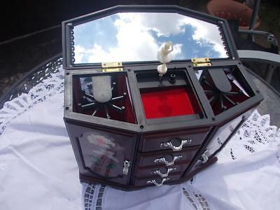 Musical Wardrobe Jewellery Box With Drawers Large In Good Working Order