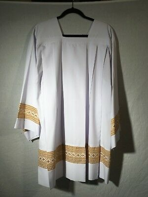 Pleated Surplice wrinkle-free with Gold Cross Inserts(Liturgy,Vestment,Mass,Lace