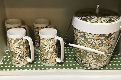 Vintage West Bend Daisy Thermo-Serv Ice Bucket With Iced Tea Mugs Thermal Serve