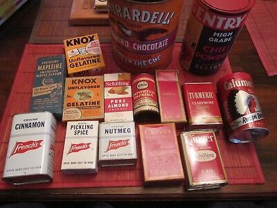 Vintage Cooking Spices Kitchen Decor Spice Tins Lot of 15 Good mix of spices