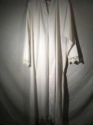 Custom White Alb w Lace Edges (Traditional, Liturgy, Vestment, Mass)