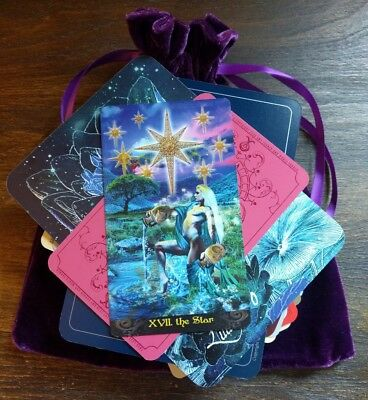 100 Mysterious MAGICAL Lot Tarot/Oracle Cards in a PURPLE Velvet Bag OCCULT