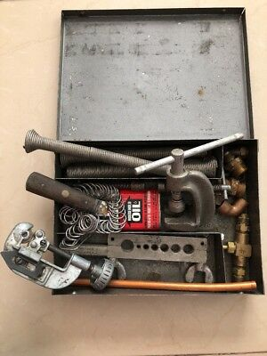 Vintage Flaring Tool Set Pipe Tube Cutter Craftsman & Other with Metal Box
