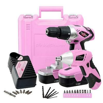 Pink Power PP1848K 18V Cordless Drill Set & Electric Screwdriver Rechargeable