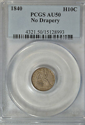 1840 Seated half dime, No Drapery, PCGS AU50