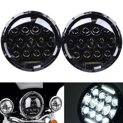 "Pair  7"" INCH 75W LED PHILIPS Headlight Hi/Lo Beam DRL for Jeep Wrangler JK LJ"