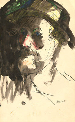 Peter Collins ARCA - Signed c.1970s Mixed Media, Portrait of the Artist