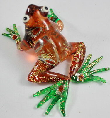 Brown Frog Figurine Animal Hand Blown Glass Amphibian Green Foot Craft Handmade