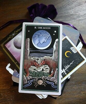100 Mysterious MAGIC Lot Tarot/Oracle Cards in a PURPLE Velvet Bag OCCULT