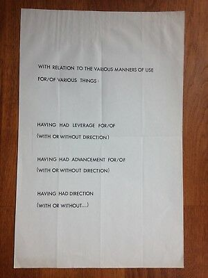 Lawrence Weiner WITH RELATIONS TO THE VARIOUS MANNERS Plakat 1974 43 x 28cm