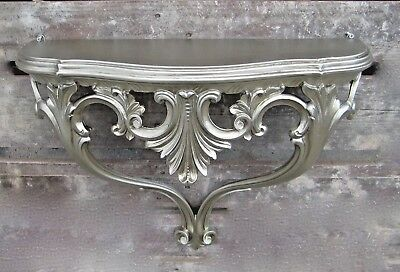 Wall Console Antique Silver Baroque 57cm Shelf Table Flower Filing Cabinet