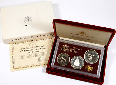 1977 Turks and Caicos Islands Gold & Silver Proof Set - Original Packaging