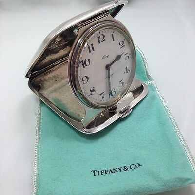 Antique Tiffany & Co. Sterling Silver 8 Day Travel Clock Concord Co. Runs Wor...