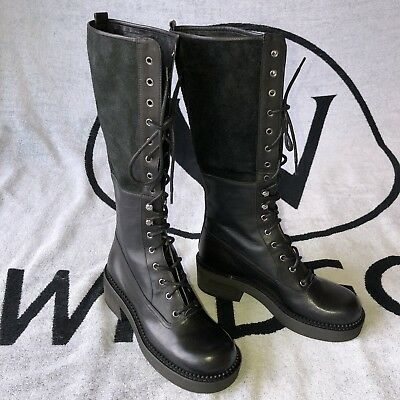 3a275fd2f6b SEE BY CHLOE Katerina Black Leather Knee High & Fold Over Boots 39.5 / US  8.5
