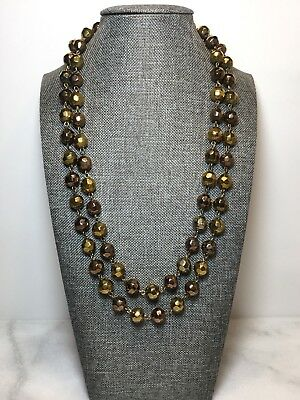 Vintage Faceted Copper Gold Color Glass Bead Necklace 42 Inches Long