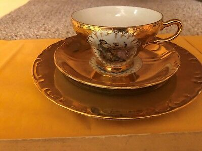 Vintage Royal Vienna Tea Cup,Saucer $Plate-HAND PAINTED 2107
