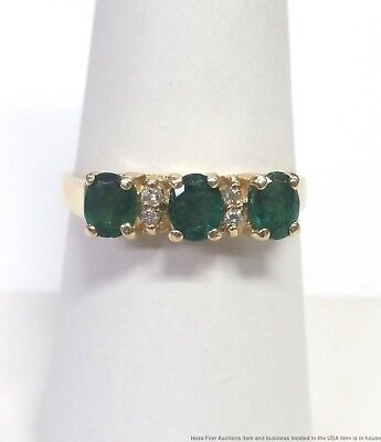 Vintage Natural Emerald Diamond 14k Yellow Gold Ring Size 9