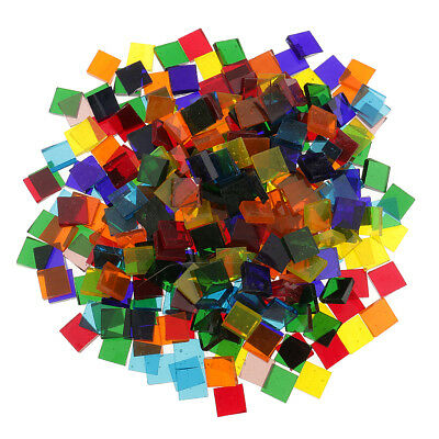 320g Colorful Clear Sqaure Glass Pieces Mosaic Tiles for DIY Craft 10x10mm