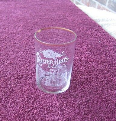 "Pre-Prohibition Walter Bros Brewing Menasha Wis 3-1/2"" 7 oz Etched Beer Glass i"