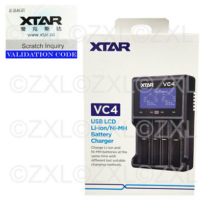 Xtar VC4 USB Battery Charger LCD Display Li-ion Ni-MH 14500 18650 32650 AA AAA